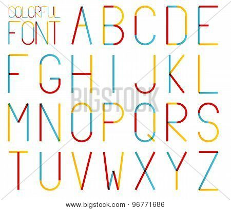 Isolated Set Of High And Thin Colorful Alphabet