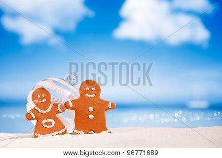 gingerbread boy and girl cookies on beach with seascape background