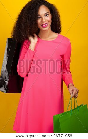 Young Attractive Girl With Shopping Bags.