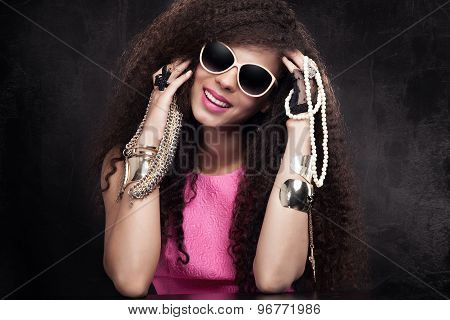 Beauty Portrait Of Attractive Girl With Jewelry.