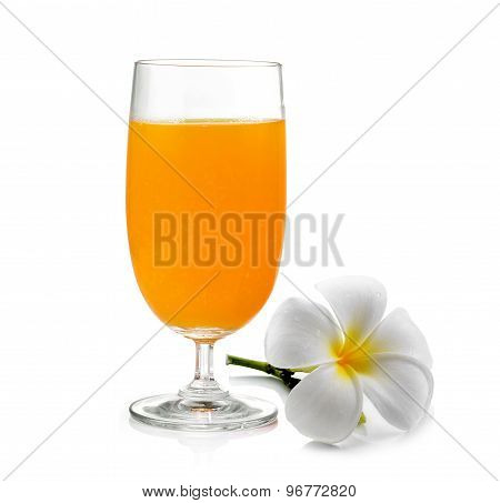 Orange Juice And Frangipani Flower Isolated On White Background