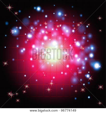 Dark red Abstract background. Night sky with stars. Vector illustration
