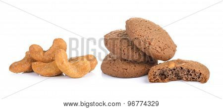 Cookie And Cashew Nut On White Background