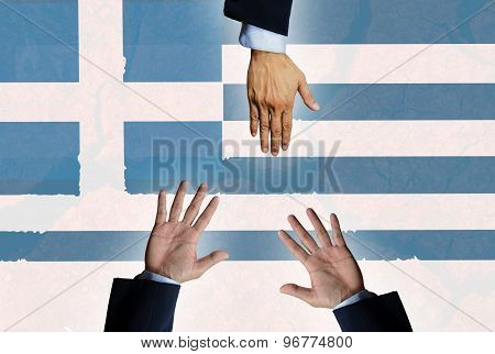 Help Greece Crisis Hand On  Background