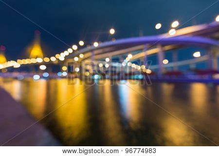 Bokeh lights of city highway curved