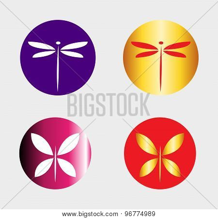 Dragonfly logo and butterfly symbol insect logo vector