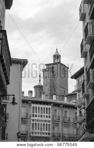 San Saturnino Church Inblack And White