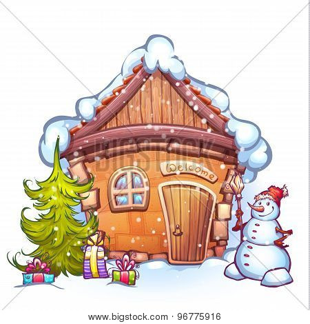 Vector illustration of winter cartoon home with snowman and firtree