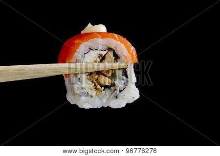 Sushi In Wooden Chopsticks