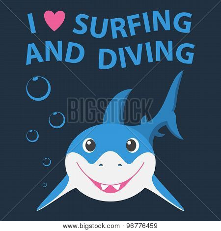 Surfing and diving summer theme with little smiling shark.