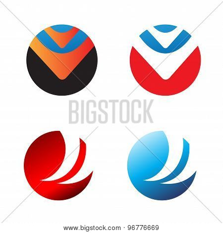 Four round logo for your business - media, health, finance, technical