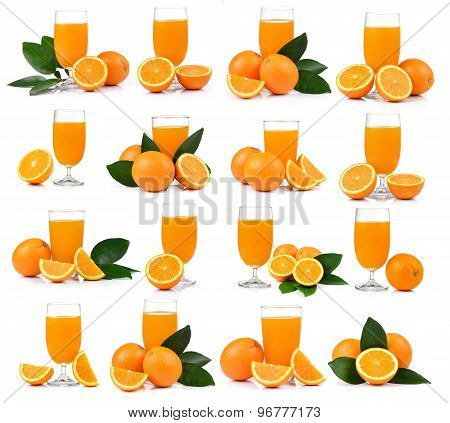 Orange Juice And Orange Isolated On White Background