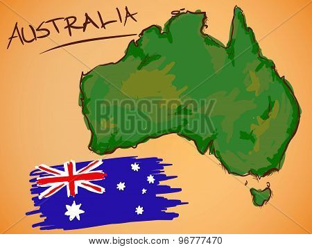 Australia Map And National Flag Vector