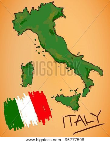 Italy Map And National Flag Vector