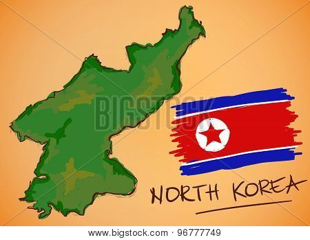 North Korea Map And National Flag Vector