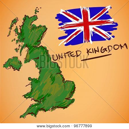 United Kingdom Map And National Flag Vector