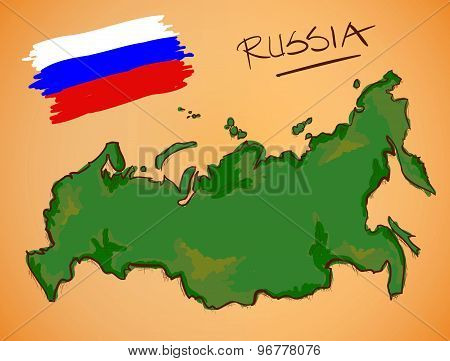 Russia Map And National Flag Vector