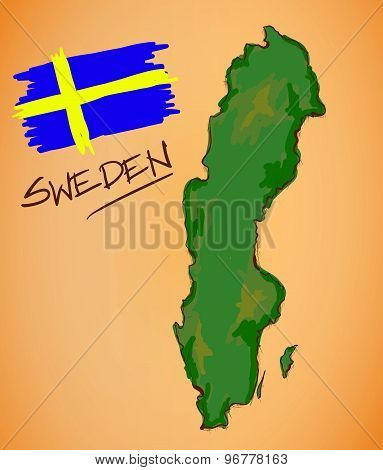 Sweden Map And National Flag Vector