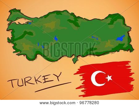Turkey Map And National Flag Vector
