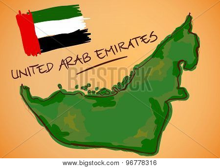 United Arab Emirates Map And National Flag Vector