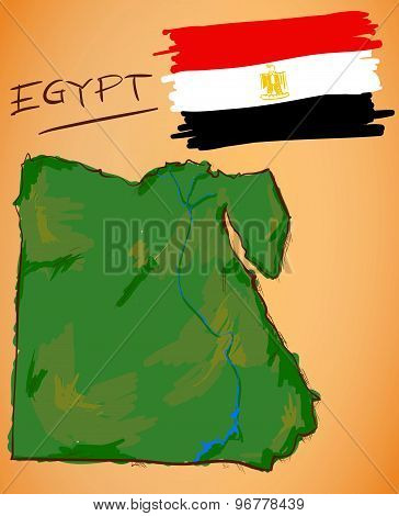 Egypt Map And National Flag Vector
