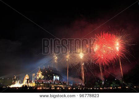 Royal pavilion and fireworks.