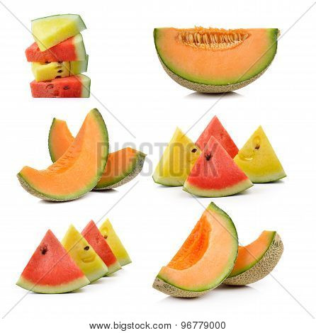 Cantaloupe Melon And Water Melon Isolated On White Background