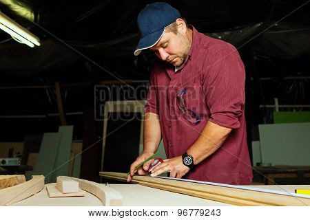 Professional Carpenter At Work.