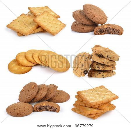 Cracker And  Cookie  Isolated On  Over White Background