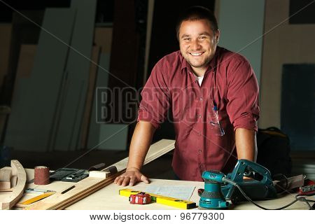 Portrait Of Happy Professional Carpenter.