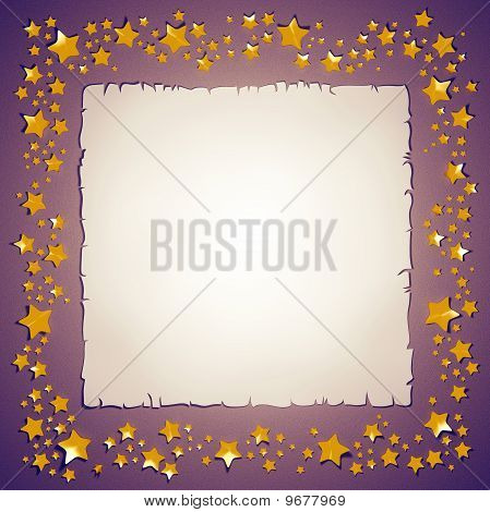 Golden foil stars and paper sheet frame