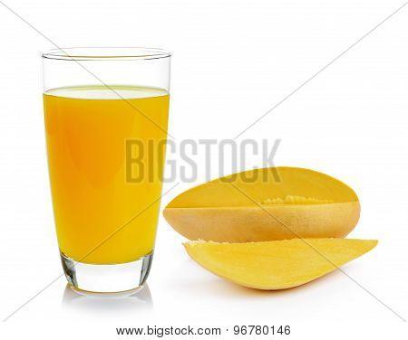 Mango Juice And Mango On White Background