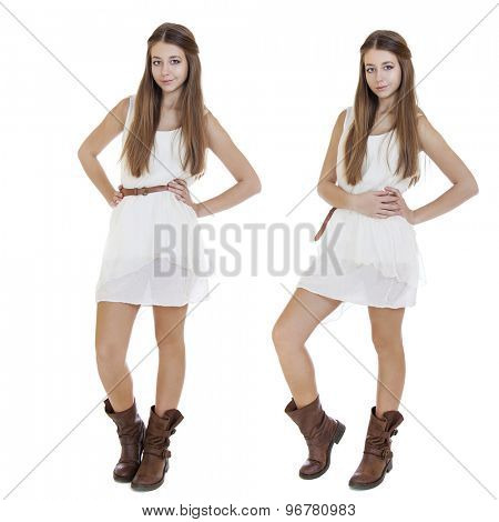 Fashion  beautiful girls with modern white dress posing in studio, isolated on white