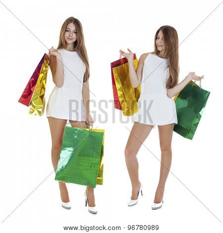 Collage, Full portrait of smiling young blonde girls with colorful shopping bags in white dress posing on a white background