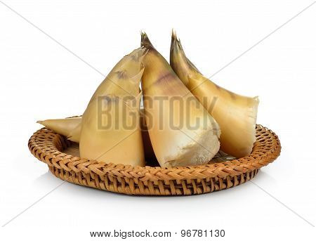 Bamboo Shoots In The Basket On White Background