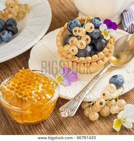 Light Fresh Crunchy Pastry Tartlet Of Blueberries