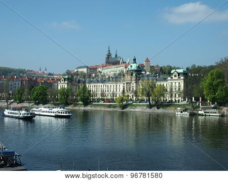 Prague, Czech Republic - April 22, 2015: Vltava River Embankment