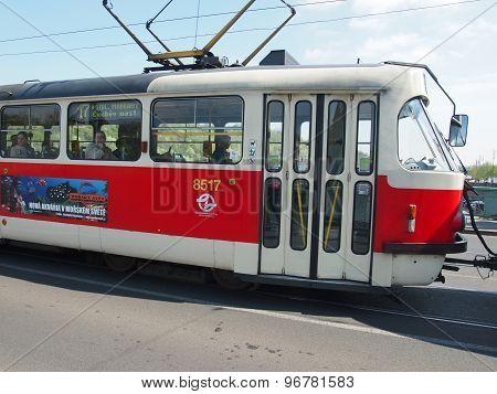 Prague, Czech Republic - April 22, 2015: Old Tram Closeup On The Streets Of Prague