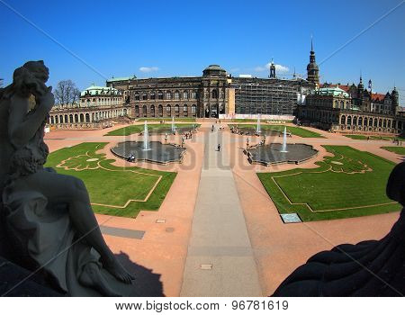 Dresden, Germany - April 23, 2015: Top View Of The Zwinger