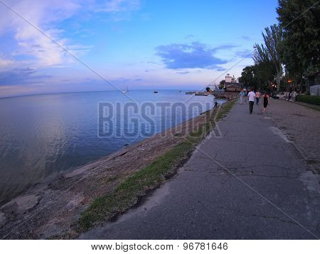 View Of The Azov Sea Urban Waterfront After Sunset
