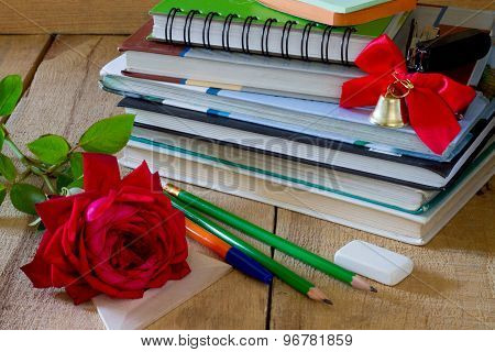 Golden Bell And Red Rose School Supplies
