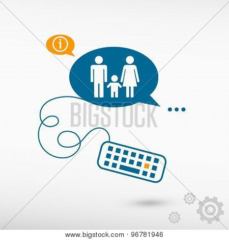 Family Icon And Keyboard On Chat Speech Bubbles