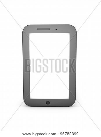 Simple 3D Tablet Illustration With Blank White Screen. Isolated On White.
