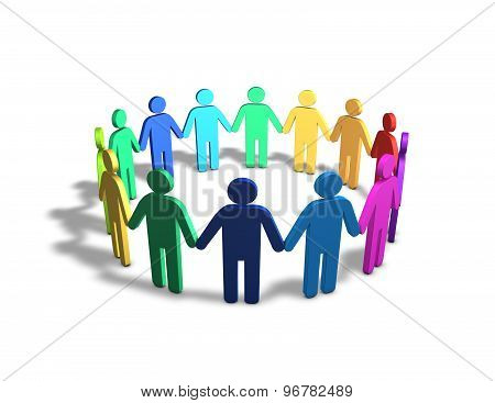 Multi Ethnic Group Of Multi Color People Together Holdig Hands Illustration.