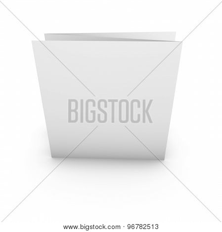 Three Pages Flier Isolated On White With Blank Pages And Empty Copy Space. Blank Template For Your I