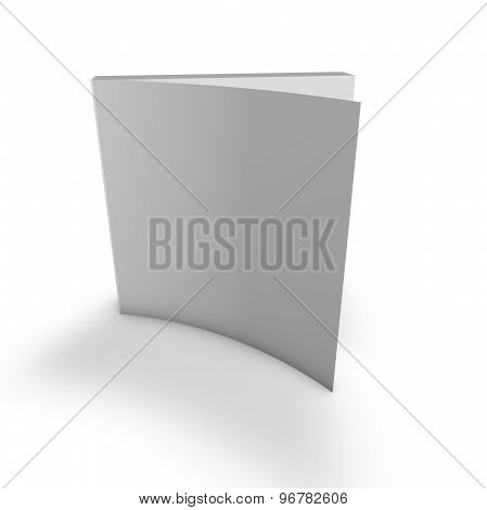 Standing Publication With Empty Grey Cover. Isolated On White.