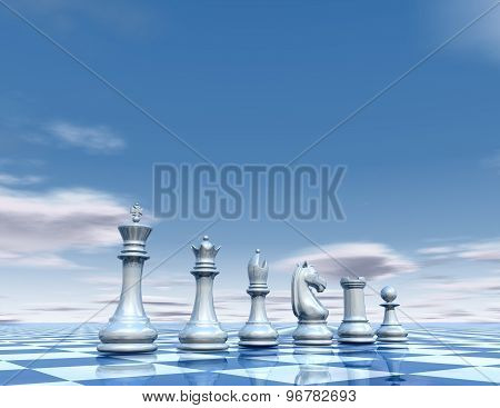 Chess Pawns Abstract Pawns Set. Surreal Blue Background.