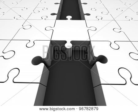 Bridge Made Of Puzzles, Unifying Abstract 3D Illustration