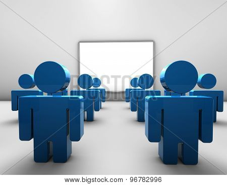 Lecture, Business Conference And Educational Training Concept With Blue People