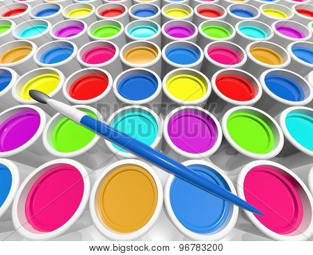 Creativity Concept With Metal Cans With Colorful Paint Dye
